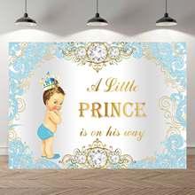 Neoback Blauw Gouden Prins Witte Jongen Baby Shower Achtergrond Royal Blue Diamond Crown Jongen Meisje Verjaardagsfeestje Photocall Banner