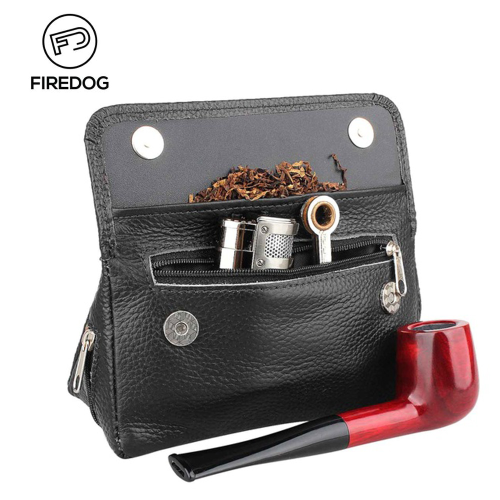 FIREDOG Genuine Leather Smoking Tobacco Pipe Pouch Case Bag For 2 Pipes Tamper Filter Tool Cleaner Preserve Freshness
