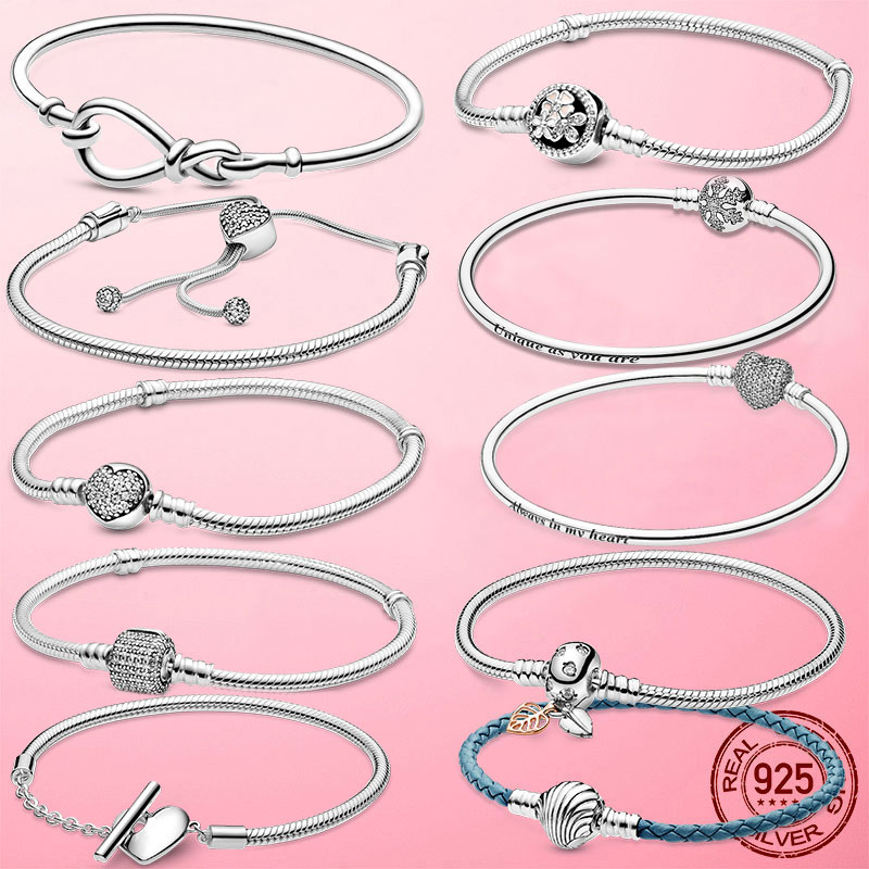 925 Sterling Silver Heart Snake Chain Bracelet For Women infinite knot daisy Flower clasp femme Bracelet Bangles Women Jewelry