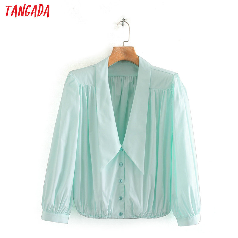 Tangada Women Peter Pan Collar Pleated Crop Shirts Long Sleeve Female Sexy Oversized Short Blouses 2XN19