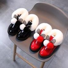 Bottines en cuir avec paillettes et peluche pour bébé et enfant,chaussures chaudes d'hiver pour toute petite fille, à la mode, SP094,