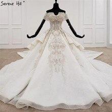לבן מתוקה קצר שרוולי יוקרה חתונה שמלות 2020 אגלי Suquins סקסי דובאי כלה שמלות HX0070 תפור לפי מידה