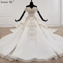 White Sweetheart Short Sleeves Luxury Wedding Dresses 2020 Beading Suquins Sexy Dubai Bridal Gowns HX0070 Custom Made