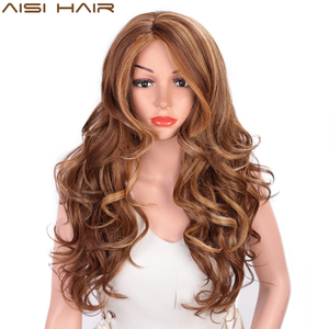 Image 2 - AISI HAIR Long Wavy Natural Hair Wig Mixed Dark Brown Synthetic Wigs For Black Women Side Part Blonde Wigs Heat Resistant Fiber