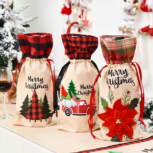 New Year 2021 Santa Claus Snowman Wine Bottle Cover Noel Christmas Decoration for Home Dinner Decor Christmas Gift Tree Ornament