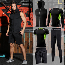 Gym Tight Running Set for Mens Sport Suit Outdoor Jogging Sports Clothing Men Fitness Sportswear Dry Fit Training Tracksuit MMA