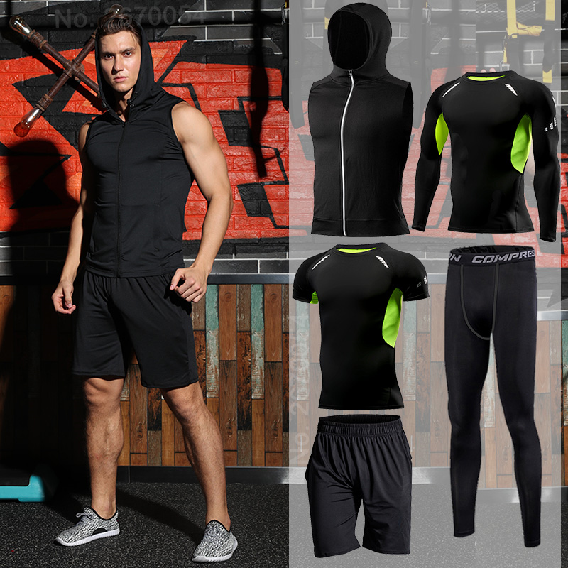 Gym Tight Running Set For Men's Sport Suit Outdoor Jogging Sports Clothing Men Fitness Sportswear Dry Fit Training Tracksuit MMA