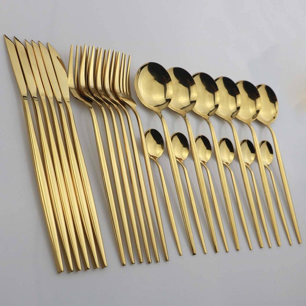 Набор золотых столовых приборов из нержавеющей стали, набор из 24 приборов, нож, вилка, ложка, столовые приборы, можно мыть в посудомоечной ма...