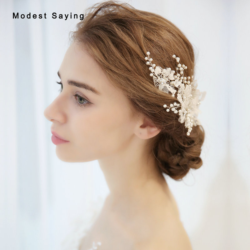 Chic Lace Wedding Duckbill Hair Clips 2019 Formal Women Pearls Bridal Clips Wedding Accessories Headpiece Dekoracje Weselne