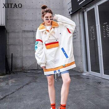 XITAO Plus Size Women Hoodies Fashion New 2019 Patchwork Winter Pocket Small Fresh Casual Full Sleeve Minority Hoodies DMY1079
