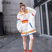 Xitao 플러스 사이즈 여성 후드 패션 새로운 2019 패치 워크 겨울 포켓 작은 신선한 캐주얼 전체 슬리브 소수 후드 dmy1079