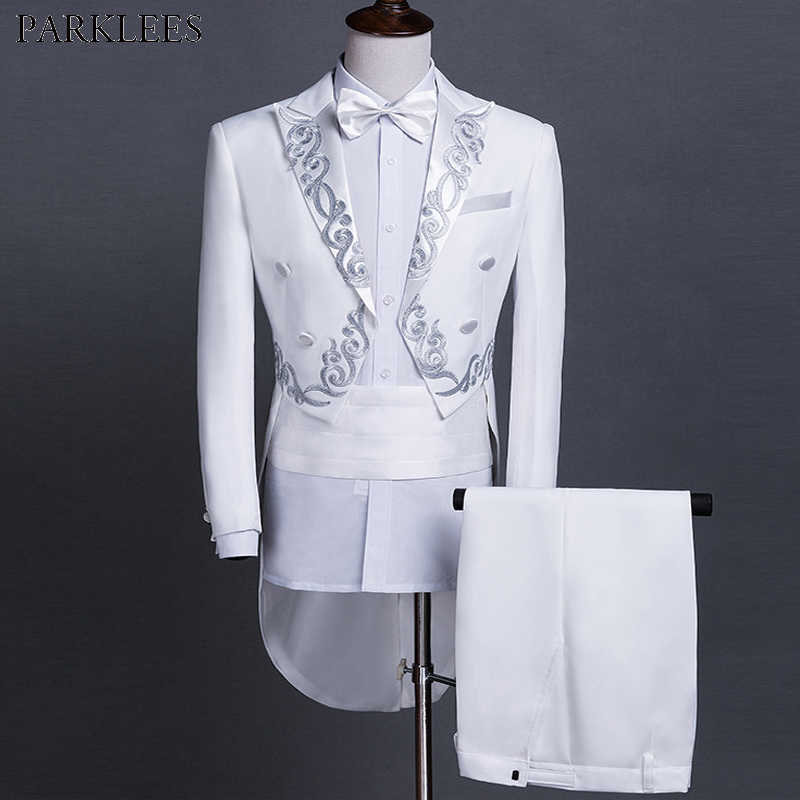 White Tailcoat Men Wedding Grooms Embroidered Suits 2 Piece Mens Suits with Pants Prom Singers Stage Costume Tuxedo Men Suit Set