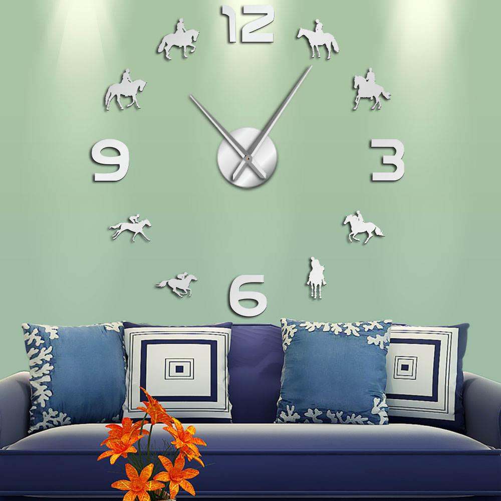 Horse Racing DIY Giant Wall Clock Racehorses Riding Silhouette Wall Art Decor Frameless Mirror Effect Wall Watch Gift For Jockey