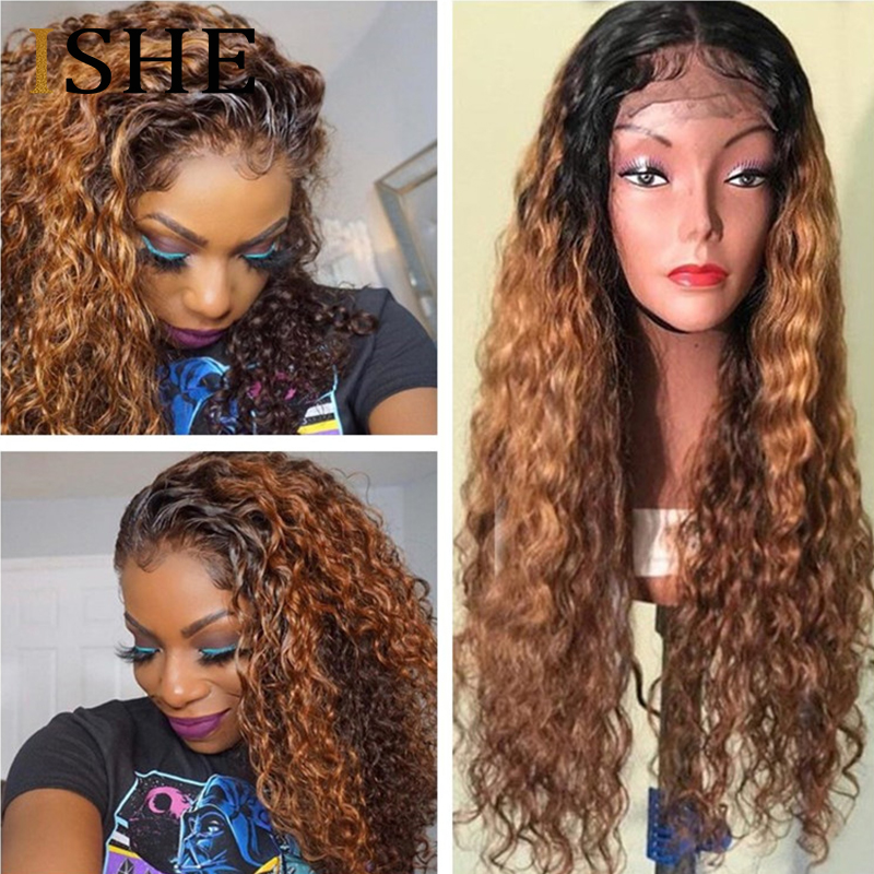 Kinky Curly Ombre 360 Lace Frontal Wig Honey Blonde 13x6 Lace Front Human Hair Wigs Pre Plucked 360 Lace Wig For Black Women