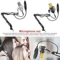 Condenser Microphone Set BM800 Professional Microphone for Audio Studio Vocal Computer Recording Karaoke with Phantom Power