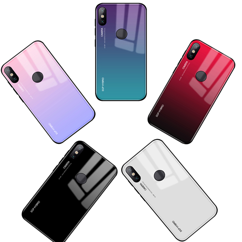 Gradient <font><b>Case</b></font> For Xiaomi <font><b>Redmi</b></font> K20 6a 5a s2 5plus <font><b>Note</b></font> 5 6 7 Pro <font><b>4x</b></font> 4 <font><b>Xiomi</b></font> Xiami <font><b>Case</b></font> Tempered Glass Back Cover Silicone <font><b>Cases</b></font> image