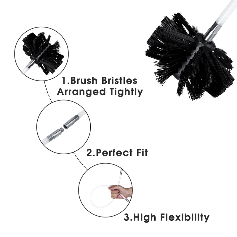 1pcs Chimney Cleaner Sweep Inner Wall Cleaning Brush Tool 8 Flexible Rods Kit Connect The Brush Bristles With A Brush
