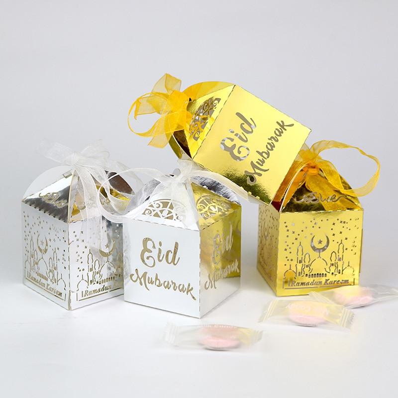 10pcs Eid Mubarak Candy Box Favor Box Ramadan Kareem Gift Boxes Islamic Muslim Festival Happy Al-Fitr Eid Event Party Supplies