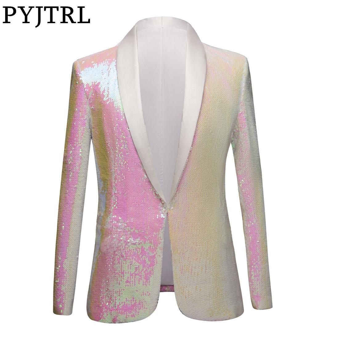 PYJTRL Full Sequins Series Men White Pink Sequins Blazers Gentleman Prom Dress Suit Jacket Night Club Singers Slim Fit Costume