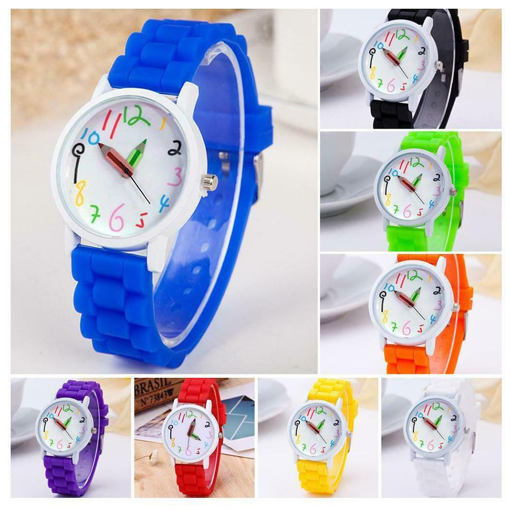 Cartoon Children Watch Round Dial Silicone Strap Analog Cute Painted Pattern Quartz Kids Wrist Watches Gift Zegarek Damski