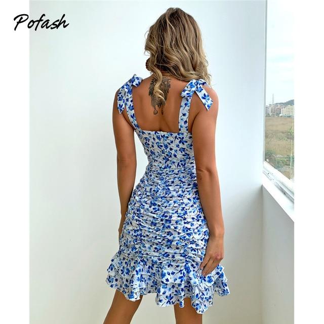 Pofash Floral Print Blue Summer Dresses Women V Neck Sexy Backless Spaghetti Strap Bodycon Dress Ruffle Mini Dress 2021 Vestidos 2