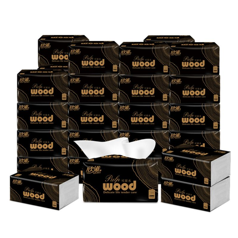 6 Bags WOOD Toilet Paper 4Ply No Chemical Hand Towels Paper 70 Sheets 17 X11.5cm 667D