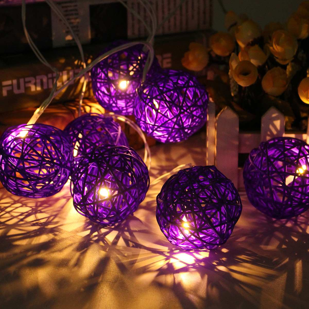 DIY Rattan Ball String Lights 1.2m Romantic Outdoor Indoor Christmas Lamps Colorful Garland Party Round Sepak Takraw Lighting