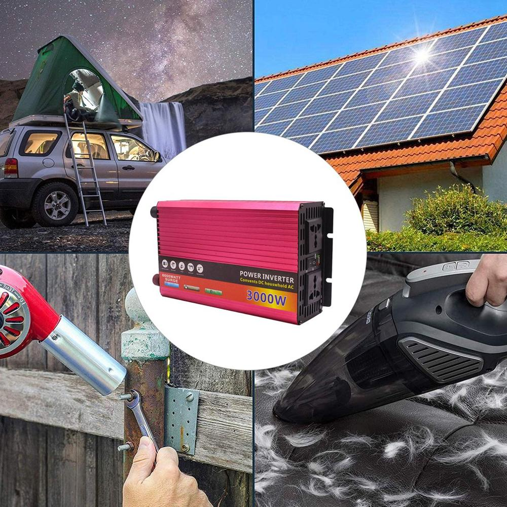 Modified Sine Wave Inverter DC 12/24V To AC 220V 3000W With Universal Socket USB Port For Car Solar Power Inverter