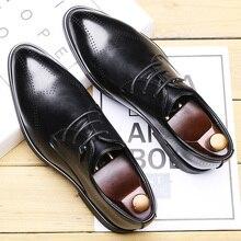 Новые осенние деловые модельные туфли мужские корейские туфли из воловьей кожи с острым носком повседневные кожаные туфли с перфорацией типа «броги» на шнуровке