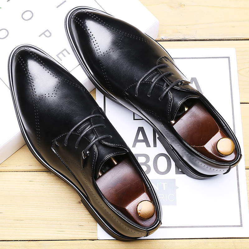 2019 Autumn New Business Dress Shoes Men Korean Pointed Toe Bullock Men's Shoes Lace-up Brogue Carved Casual Leather Shoes
