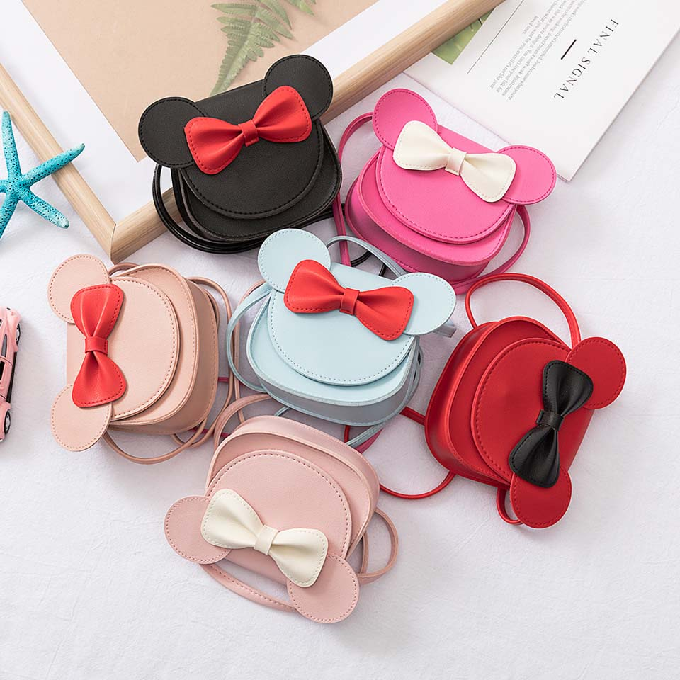 2019 Girl Coin Purse Handbag Children Wallet Small Coin Box Bag Cute Mouse Bow Kid Money Bag Baby Rabbit Shoulder Bag Purse