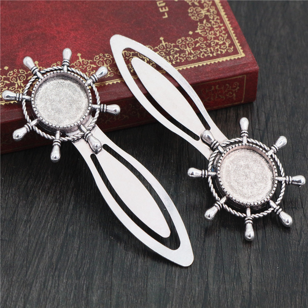 New Fashion 2pcs 18mm Inner Size Antique Silver Plated Simple Style Handmade Bookmark Cabochon Base  Cameo Setting (H1-03)