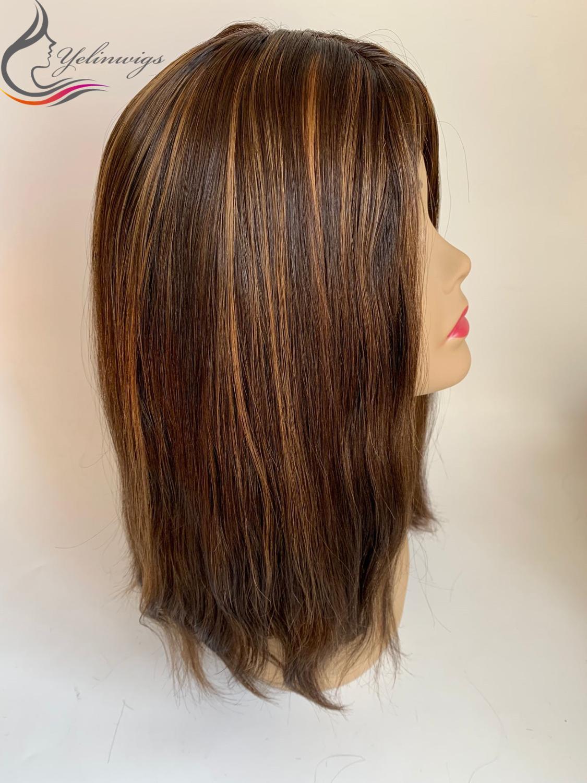 Natural Straight Hair Jewish Wig Kosher Wig Fashion Highlight Color Top European Virgin Hair Wigs