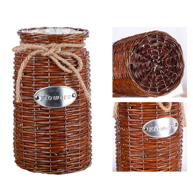 Wicker Vine High Floor Vase