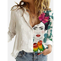 Mode Nähen Retro Face Print Langarm Bluse Frauen 2021 Frühling Revers Taste Casual Top Dame 3XL Baumwolle Polyester Shirts