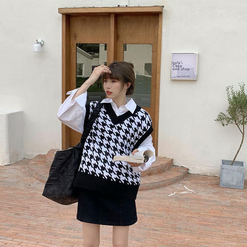 H9b5375a58f214794ab0854204a87d6c6k Women Sweater Vest Autumn Houndstooth Plaid V-neck Sleeveless Knitted Vintage Loose Oversized Female Sweater Vest Tops