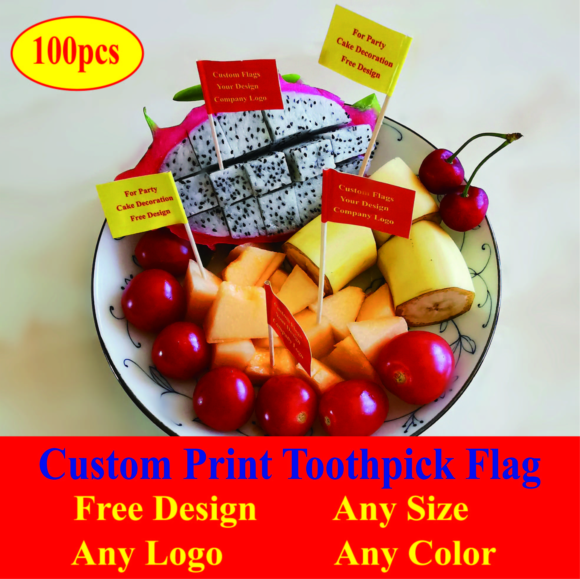 Custom Flag Logo Toothpick Flags Double Side Flag Food Picks Cake Toppers Fruit Cocktail Sticks Flag Free Design 100pcs/bag(China)