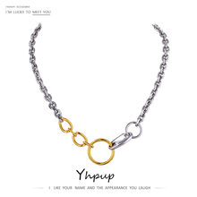 Yhpup Minimalist Metal Stainless Steel 2020 Necklace 18 K Chain Mix Color Choker Texture Necklace Punk Statement Jewelry Gift