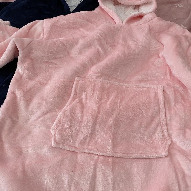 Winter Warm Comfy Hooded Pocket Blankets Adults Bathrobe Sofa TV Blanket Sweatshirt Solid Plush Coral Fleece Blankets Outwears 15