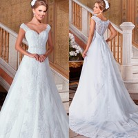 Vestido de noiva See Through Lace Back Sexy Wedding Dress 2016 Detachable Tail vestidos de noiva casamento 2015 bridal dresses