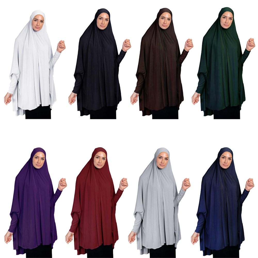 Khimar Burqa Long Hijab Scarf Muslim Women Large Amira Overhead Prayer Clothes Islamic Long Sleeve Niqab Jilbab Abaya Arab Tops