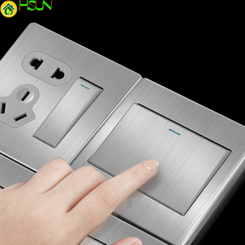 86 Type wall switch panel Five hole socket with switch Brushed Stainless steel 5-hole socket Household 1 2 3 4Gang 1 2Way switch 1