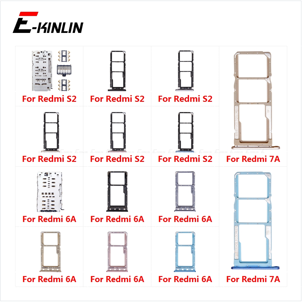 Sim Card Socket Slot Tray Reader Holder Connector Micro SD Adapter Container For XiaoMi Redmi S2 7A 6A Replacement Parts