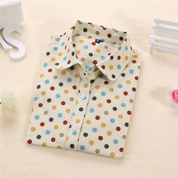 Dioufond, Хлопковая женская рубашка, блуза с длинным рукавом, красный горошек, Blusas Femininas, 5XL размера плюс, отложной воротник, женские модные топы - Цвет: Bigwhitedot