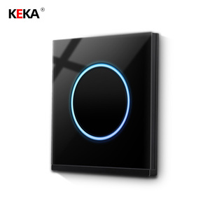 KEKA Luxury wall light touch point switch universal standard lighting 1 Gang 1 way switch tempered glass switching power supply