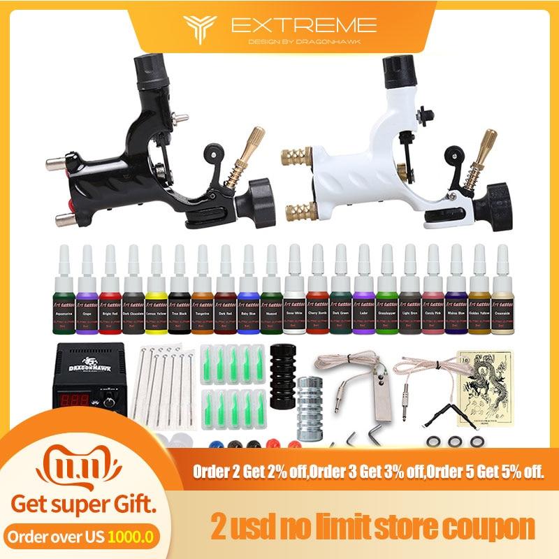 Beginner Tattoo Kit 2 Machines 20  Ink Sets Power Supply  Needles  D175GD-6