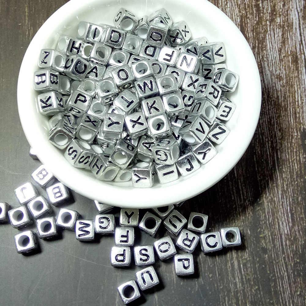 10 unids/pack 6mm acrílico espaciador plata/oro letra cuentas cuadrado alfabeto cuentas para joyería fabricación de accesorios hechos a mano DIY