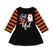 купить Girls Dress Hot Sale Toddler Kids Cute Baby Girl Long Sleeve Ghost Cartoon Party Halloween Princess Dresses Clothes robe fille дешево