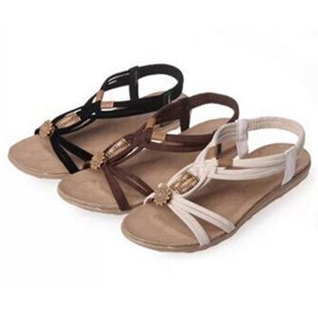 Sandały damskie 2021 letnia kobieta buty japonki kobieta buty na plażę Gladiator koraliki sandały Lady sandały na niskim obcasie obuwie tanie i dobre opinie Bigsweety Flock CN (pochodzenie) Mieszkanie z NONE Otwarta RUBBER Niska (1 cm-3 cm) 0-3 cm Na co dzień Gumką Pasuje prawda na wymiar weź swój normalny rozmiar