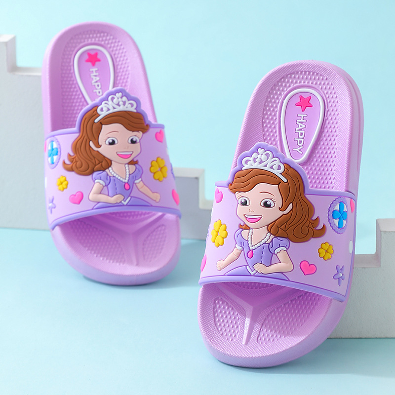 2020 New Girls Slippers Summer Small Girls Home Shoe Korean Cute Cartoon Indoor Shoe Non-Slip Soft Baby Slippers Kids Flip Flop